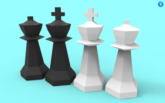king and queen giant chess pieces papercraft pdf pack 3d paper sculpture template with diy decoration