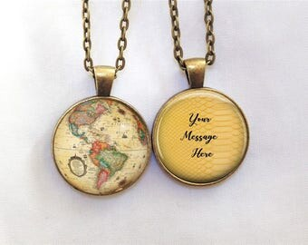 Map necklace etsy globe necklace double sided map necklace gift for world traveler vintage colorful gumiabroncs Image collections