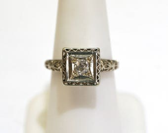 14k White Gold 1/5ctw Diamond Vintage Estate Square Engagement Ring Size 6.5