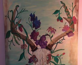 Deer Skull Flower Painting