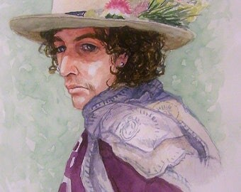 BOB DYLAN,Iconic Musician,16x20 Original Watercolor Painting,One of a Kind,Not a Print,