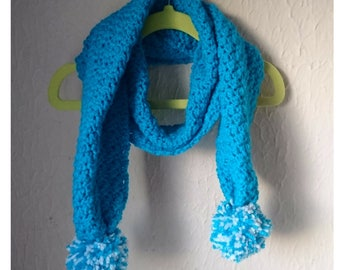 READY TO SHIP: Hand Crochet Kingfisher Blue or Harlequinn Child Pom Pom  Scarf