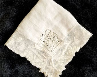 Vintage White Tambour Lace Edged Wedding Handkerchief, Hanky, Kerchief. Bridal Gift, Something Old