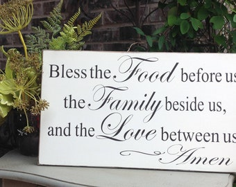 Bless the Food before us sign, Wood Sign Saying, Prayer Sign, Custom Sign, Religious Sign, Kitchen Prayer Sign
