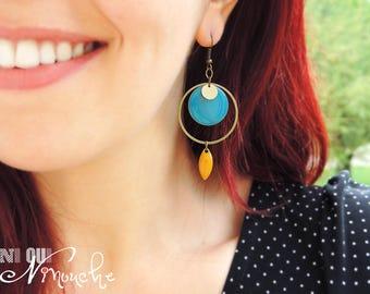 Blue earrings Golden mustard Yellow Duck was retro flash long sequin enamel round circle