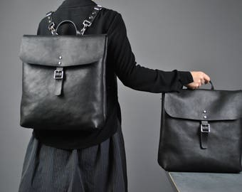 Black Leather Two in One Bag, Leather Backpack, Italian Leather Laptop Bag, Leather Crossbody Bag, Black Leather Tote, Leather, Leather Tote