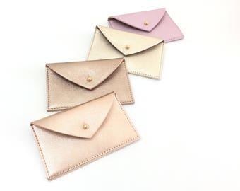 Leather Card Holder.Leather Card Case.Envelope Wallet.Leather Credit Card holder.Business Card Case.ID Wallet Minimal.Rose Gold Holder.Pulpo