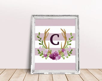Baby Initial Decor C | Antler Wreath, Baby Wreath Letter, Rustic Letter, Name Letter Poster, Floral Letter, Claire, Chloe