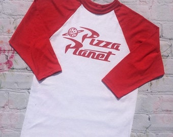 Pizza Planet Logo Raglan/Baseball Shirt for family and all ages-Gender Neutral-Disney/Pixar Toy Story Inspired-DisneyWorld-Disneyland