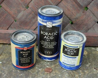 Boric Acid Tins, Boracic Acid, Vintage Medicine, IDA Drug Stores, Drug Trading Company, 8 oz., 4oz., Canada, Sold together, Canadiana