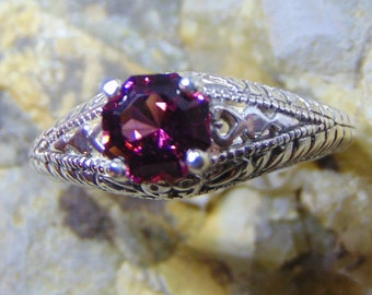 Rhodolite Garnet Filigree Ring Dark purple red garnet solid sterling silver engraved fast free shipping