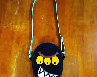 Three-eyed Black Furry Angry Face Monster Bag