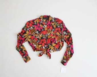 floral silk blouse | 90s floral blouse | floral silk crop top