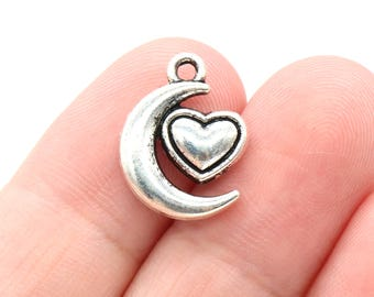 5 Pcs Heart Charms Moon Charms Antique Silver Tone 18x14mm - YD1073