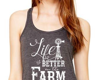 Life Is Better On The Farm Windmill   Equestrian   Farm Girl   Small Town   Farm Life   Women's Bella Flowy Racerback Tank   Super Soft
