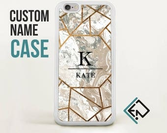 Custom gold marble Iphone case 7 plus geometric marble name case bumper Iphone 6 plus case Iphone 6 monogram unique case iphone case CMT2