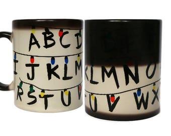 Stranger Things Mug, Color Changing Mug, Stranger Things Cup, Coffee Mug, Mugs, Movie Mug, Funny Coffee Mug, Alphabet Mugs, Cups, Unique Mug