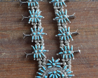 Zuni Silver and Needlepoint Turquoise Squash Blossom Necklace