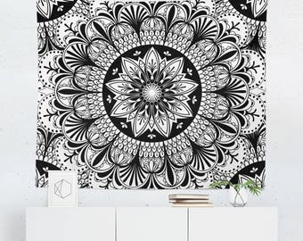 Black and White Tapestry | Black and White Wall Tapestry | Black and White Wall Décor | Mandala Tapestry | Mandala Wall Tapestry