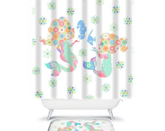 Kids Bathroom Baby Mermaid Shower Curtain Kids Shower Curtains Orange  Shower Little Girls Bathroom Decor Extra