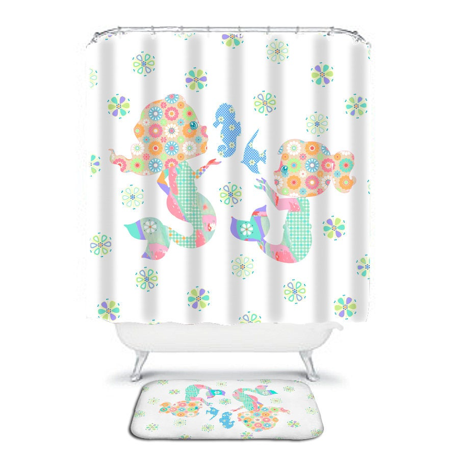 Mermaid shower curtains - Kids Bathroom Baby Mermaid Shower Curtain Kids Shower Curtains Orange Shower Little Girls Bathroom Decor Extra