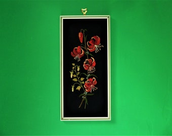 Embroidered flower picture, mid century modern textile art / embroidery, red lilies on black hessian - framed