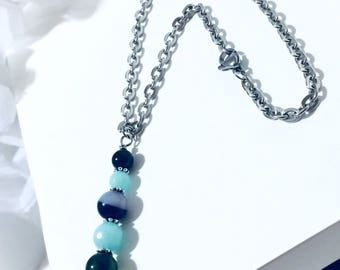CAR HANGER DANGLE Rear View Mirror Stainless Steel Jewelry Charm Pendant Ornament Natural Amazonite Beads Agathe Agate Jade Azur Genuine