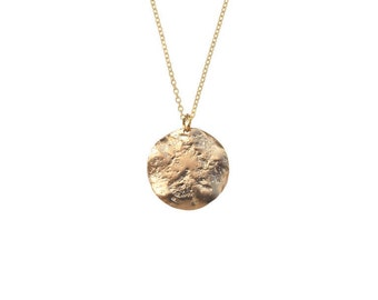 Brune necklace - Gold thin medal pendant