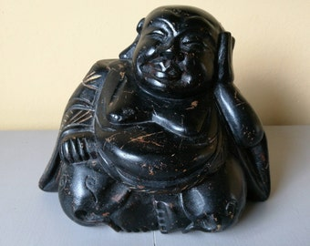 Hand Carved Wooden Laughing Buddha/Happy Buddha Statue - Hotei/Ho Tai Statue,Vintage Carved Wood Laughing Buddha/Happy Buddha/Ho Tai Statue.