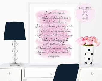 Audrey Hepburn Quote, I believe in pink, Inspirational Quote, Watercolor Print, Typography Poster, Home Decor, Printable Wall Decor, T3-271