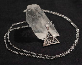 Silver triquetra pendant with chain necklace