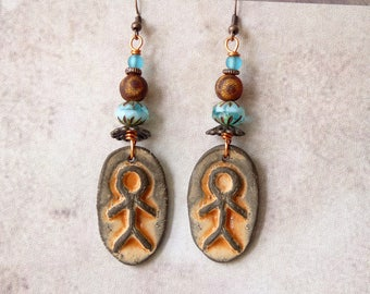 Boho Earrings, Bohemian Jewelry, Ethnic Earrings, Ceramic Earrings, Handmade Jewelry, Primitive Tribal Native American African Southwest