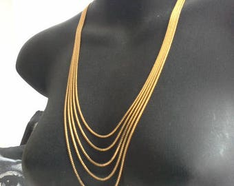 Gold Plate Sunburst Clasp Five Strand S Link Layered Chain Necklace c 1970's Retro Hipster