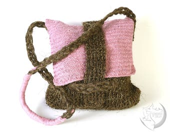 Woven cotton and jute bag