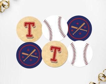 Printable Baseball Party Circles, Printable Vintage Baseball Cupcake Toppers, Printable Baseball Birthday Tags, Baseball Instant Download