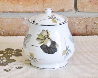 Midwinter England Staffordshire 1940s bell shaped porcelain sugar bowl with lid, leaf design, gift idea