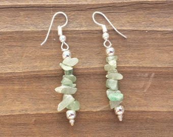 Natural GREEN AVENTURINE Handmade Gemstone Chip EARRINGS