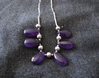 Amethyst necklace with silver beaded chain