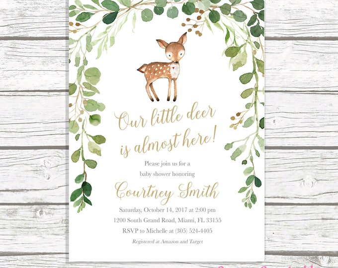 Deer Baby Shower Invitation, Boy Baby Shower Invitation, Woodland Baby Shower Invite, Gender Neutral Baby Shower, Leaves Baby Shower