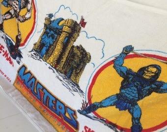 Vintage 1983 HE-MAN Beach Towel, Vintage Masters of the Universe Beach Towel,Skeletor Beach Towel, Vintage Mattel Towel, Vintage 80s towel