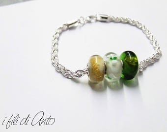 Romantic/braided bracelet with glass beads/gift idea