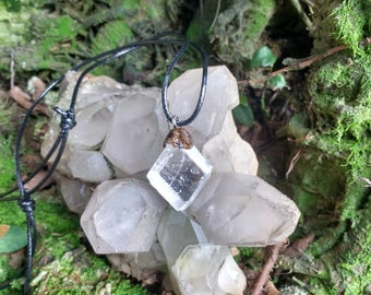 Necklace with natural Optical Calcite pendant