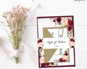 Printable Belly Band, Floral Belly Bands, Marsala Burgundy Blush, Wedding Invitation band with names, Printable Wedding Invitation - Kylie