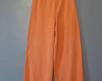 Vintage Wide Leg Pants 70's Terry Cloth High Waisted Palazzo Pant Trousers Beach Loungewear Resort Orange 1970's Beach Chic Retro Colorful