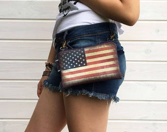 USA Flag Bumbag, Festival Waterproof Fanny Pack, Mini Crossbody Bag, Boho Bag, US Flag Bag, Vegan Bag, Waterproof Bag, American Gift idea
