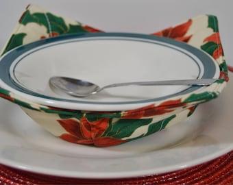 Bowl Holder - Bowl Pot Holder - Hot Bowl Holder - Bowl Hot Pad - Affordable Gifts - Gifts Under 20 - Kitchen Gifts - Poinsettia