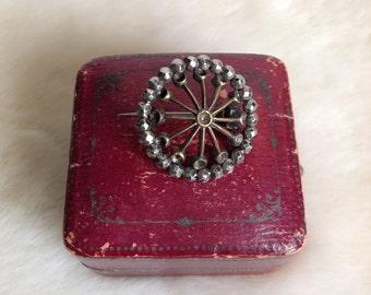 Antique Victorian round metal brooch