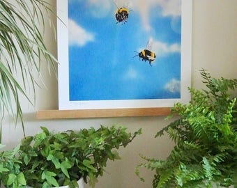Bee print, two bees, nature print, insect art print, country print, two bees in sunshine, blue sky print