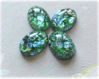 2Pcs Vintage Czech Gebb Opal 14x10mm glass cabochon, Green Opal cabochon, Green Opal  #B17