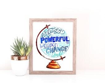 Art Print - Nelson Mandela Education Quote - Principal Gift, Teacher Gift, Wall Art, Home Decor, Office Decor, Entrepreneur Gift